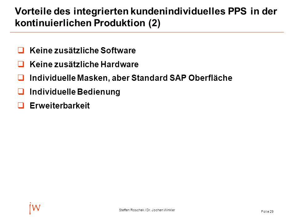 Folie 29 jw Steffen Roschek / Dr. Jochen Winkler Vorteile des integrierten kundenindividuelles PPS in der kontinuierlichen Produktion (2) Keine zusätz
