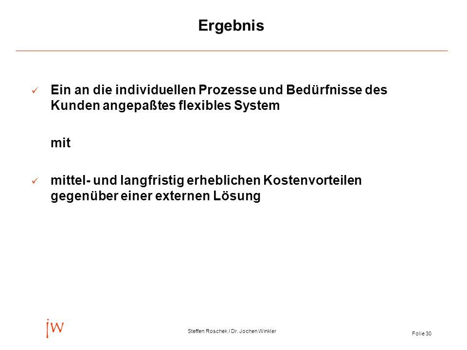Folie 30 jw Steffen Roschek / Dr. Jochen Winkler Ergebnis Ein an die individuellen Prozesse und Bedürfnisse des Kunden angepaßtes flexibles System mit
