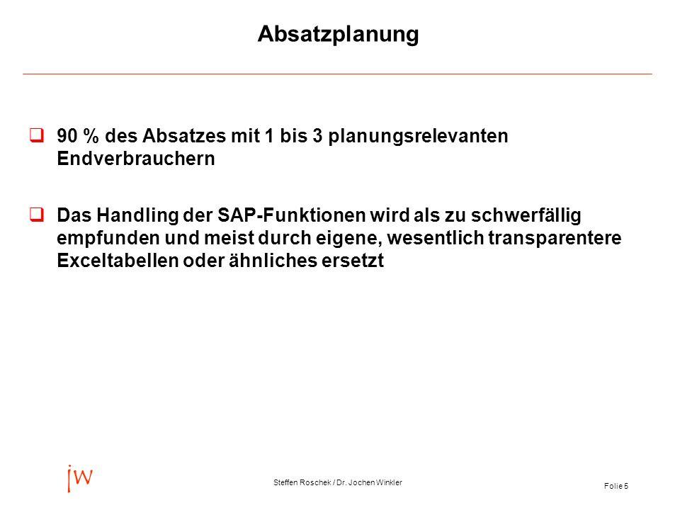Folie 5 jw Steffen Roschek / Dr. Jochen Winkler Absatzplanung 90 % des Absatzes mit 1 bis 3 planungsrelevanten Endverbrauchern qDas Handling der SAP-F