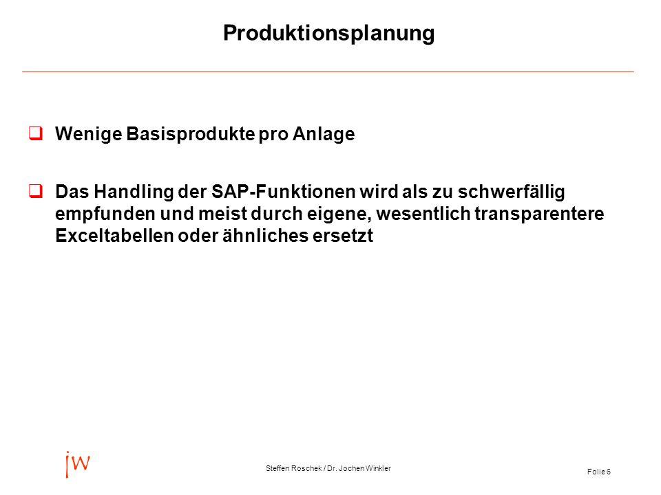 Folie 6 jw Steffen Roschek / Dr. Jochen Winkler Produktionsplanung qWenige Basisprodukte pro Anlage qDas Handling der SAP-Funktionen wird als zu schwe