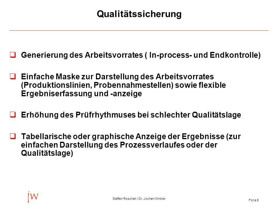 Folie 8 jw Steffen Roschek / Dr. Jochen Winkler Qualitätssicherung Generierung des Arbeitsvorrates ( In-process- und Endkontrolle) Einfache Maske zur