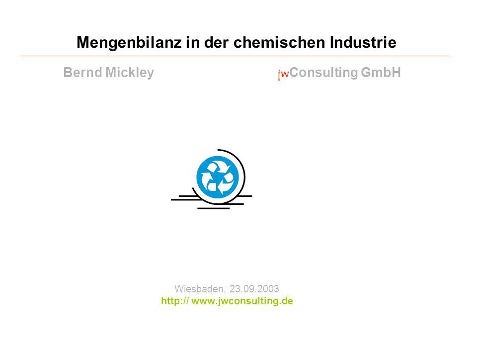 Wiesbaden, 23.09.2003 http:// www.jwconsulting.de Mengenbilanz in der chemischen Industrie Bernd Mickley jw Consulting GmbH