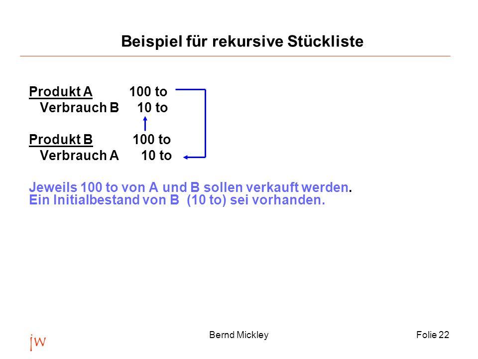 jw Bernd MickleyFolie 23 Step 0Step 1Step 2Step 3Step 4 P0110111,0111,1111,11 A100 100,0 100,00 S 10 1111,111,1111,111 Eps-110/1101/2210,1/222,10,01/222,21 10,004524890,000450240,00000450 Eps = Abs(P i+1 - P i ) / Abs(P i+1 ) + Abs(P i ) = 0,00001 Lösung durch Iteration