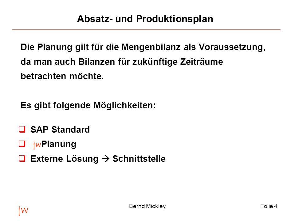 jw Bernd MickleyFolie 4 Absatz- und Produktionsplan Die Planung gilt für die Mengenbilanz als Voraussetzung, da man auch Bilanzen für zukünftige Zeitr