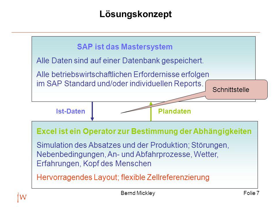 jw Bernd MickleyFolie 7 Lösungskonzept SAP ist das Mastersystem Alle Daten sind auf einer Datenbank gespeichert. Alle betriebswirtschaftlichen Erforde