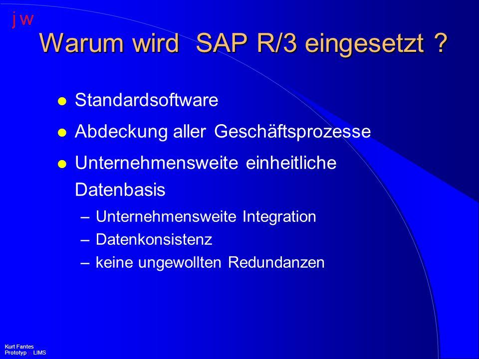 Vorteile des integrierten SAP-LIMS (II) l Keine zusätzliche Software l Keine zusätzliche Hardware l Individuelle Masken, aber Standard SAP Oberfläche l Individuelle Bedienung l Erweiterbarkeit Kurt Fantes Prototyp jw LIMS