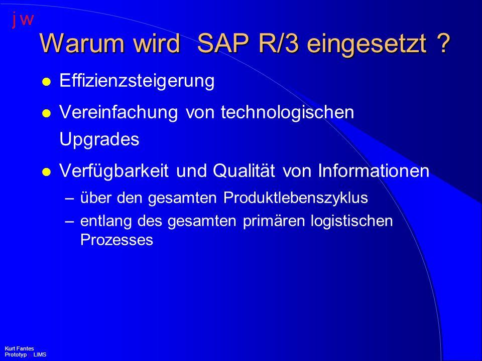 Voraussetzungen für ein integriertes SAP R/3 LIMS l Unterstützung aller unternehmensweit anfallenden Anforderungen l kurzfristig verfügbar l zukunftssicheres Konzept l bezahlbar l bedienbar l erweiterbar Kurt Fantes Prototyp jw LIMS
