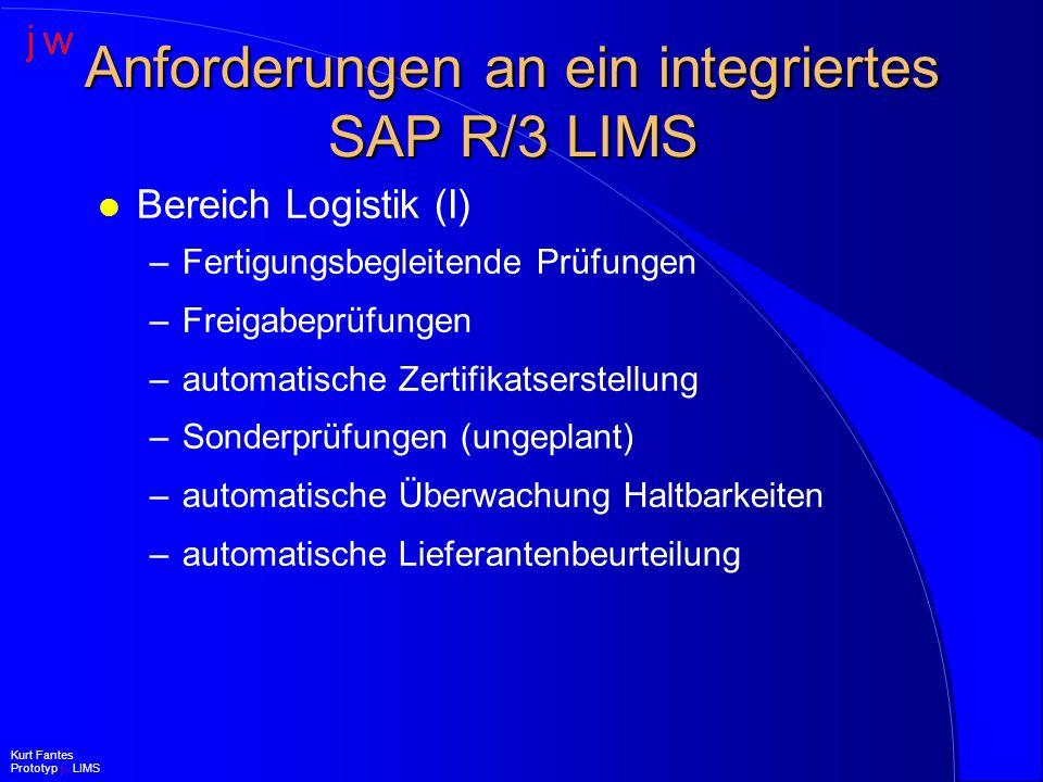 Anforderungen an ein integriertes SAP R/3 LIMS l Bereich Logistik (II) –Erstellen und Bearbeiten von l Lieferantenreklamationen l Kundenreklamationen l internen Problemmeldungen –Spezifikationserstellung und -bearbeitung –Spezifikationsverwaltung Kurt Fantes Prototyp jw LIMS