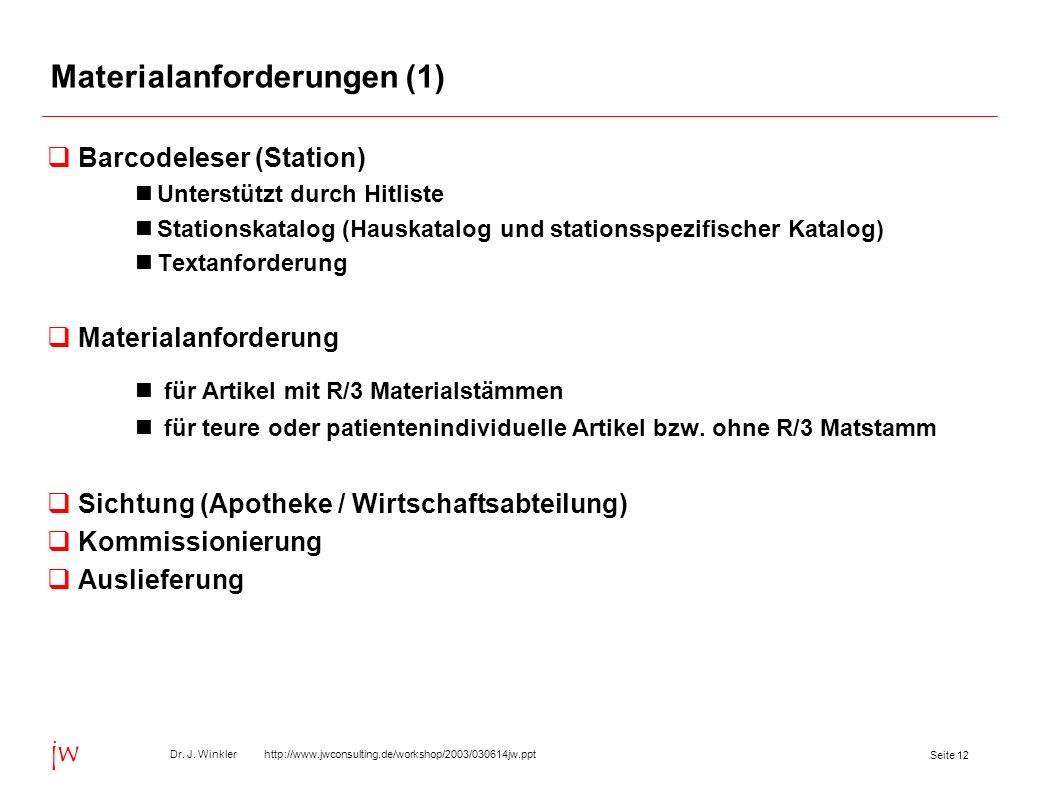 Seite 12 Dr. J. Winkler http://www.jwconsulting.de/workshop/2003/030614jw.ppt jw Materialanforderungen (1) Barcodeleser (Station) Unterstützt durch Hi