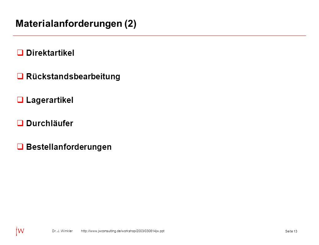 Seite 13 Dr. J. Winkler http://www.jwconsulting.de/workshop/2003/030614jw.ppt jw Materialanforderungen (2) Direktartikel Rückstandsbearbeitung Lagerar