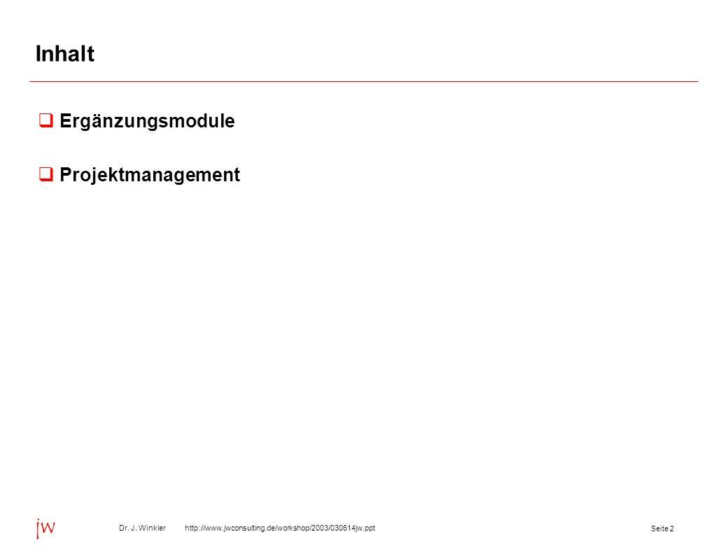 Seite 23 Dr. J. Winkler http://www.jwconsulting.de/workshop/2003/030614jw.ppt jw Inhalt