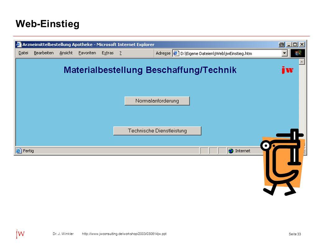 Seite 33 Dr. J. Winkler http://www.jwconsulting.de/workshop/2003/030614jw.ppt jw Web-Einstieg