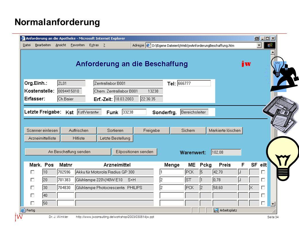 Seite 34 Dr. J. Winkler http://www.jwconsulting.de/workshop/2003/030614jw.ppt jw Normalanforderung