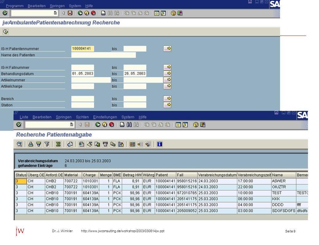 Seite 20 Dr. J. Winkler http://www.jwconsulting.de/workshop/2003/030614jw.ppt jw Inhalt