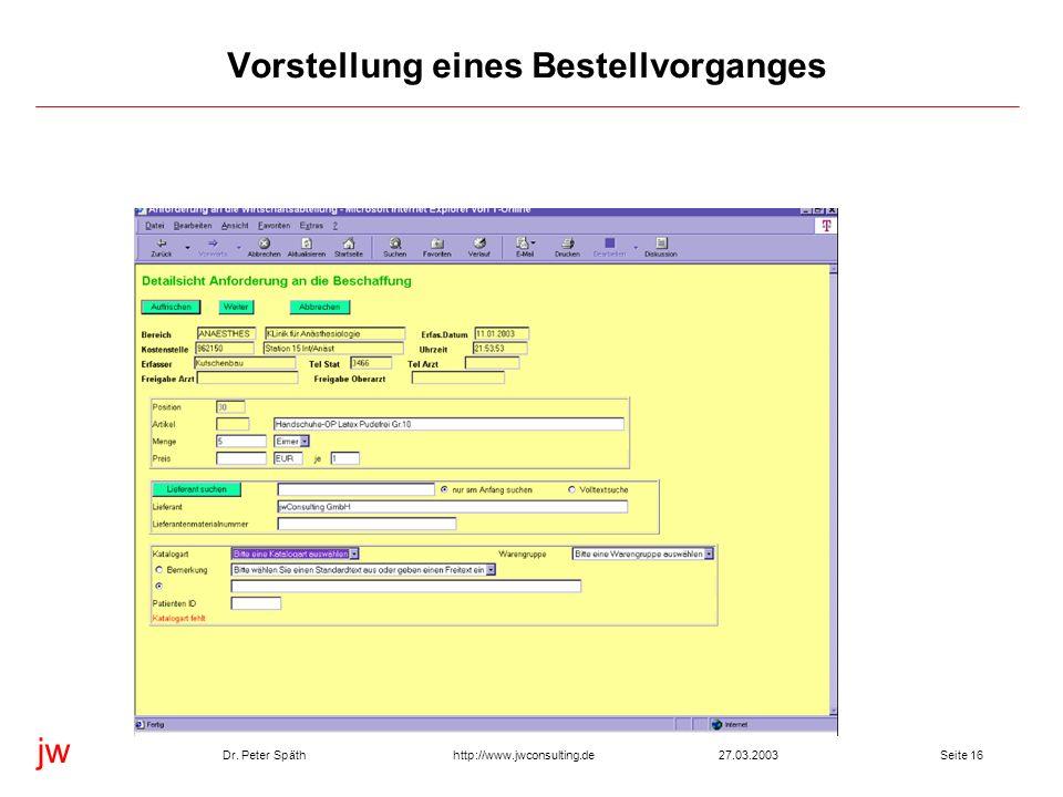 jw http://www.jwconsulting.deDr. Peter Späth27.03.2003Seite 16 Vorstellung eines Bestellvorganges