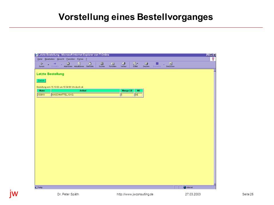 jw http://www.jwconsulting.deDr. Peter Späth27.03.2003Seite 25 Vorstellung eines Bestellvorganges