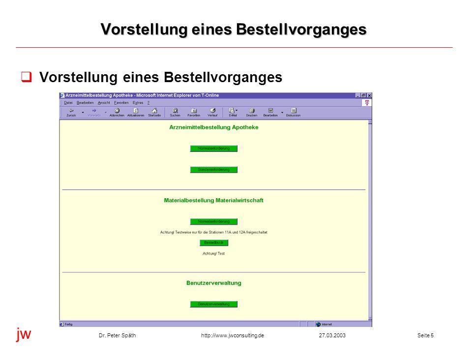 jw http://www.jwconsulting.deDr. Peter Späth27.03.2003Seite 5 Vorstellung eines Bestellvorganges