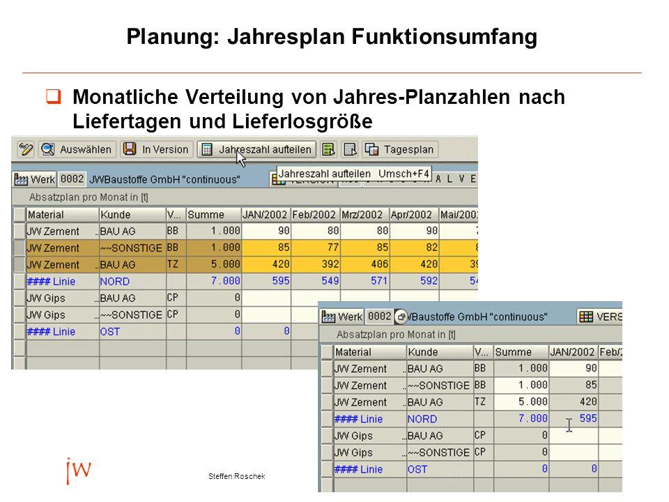 Folie 12Version 23. September 2003 jw Steffen Roschek Planung: Jahresplan Funktionsumfang Monatliche Verteilung von Jahres-Planzahlen nach Liefertagen
