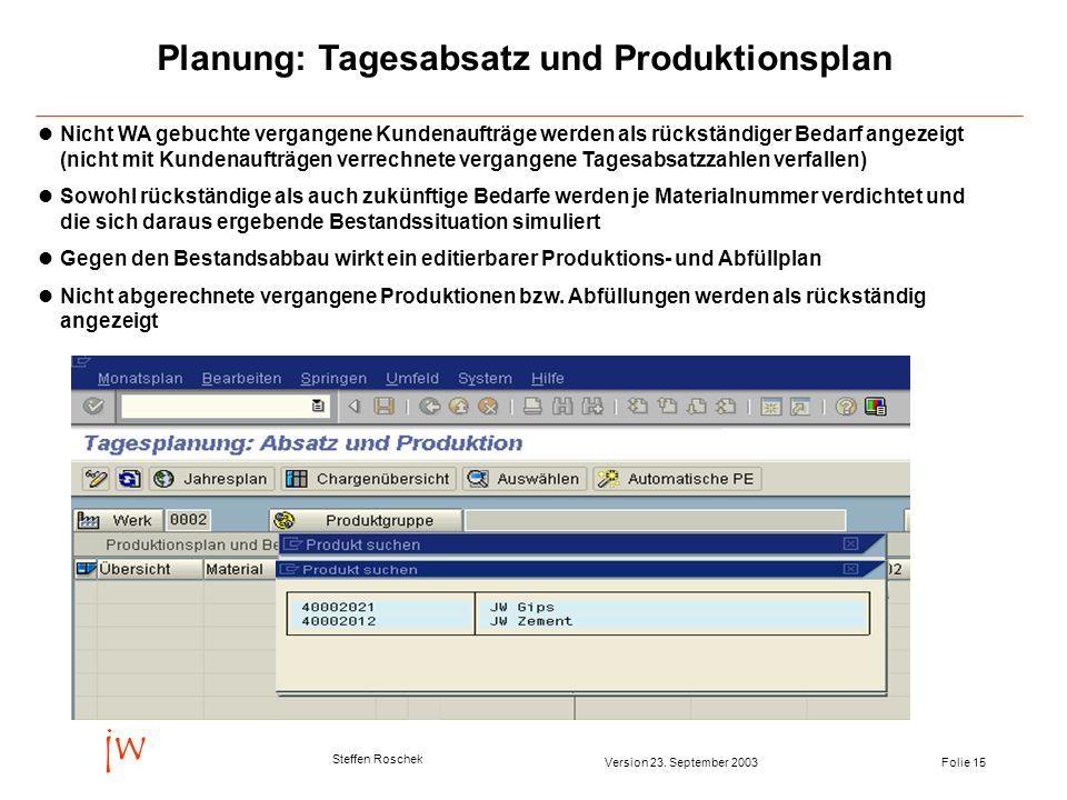 Folie 15Version 23. September 2003 jw Steffen Roschek Planung: Tagesabsatz und Produktionsplan Nicht WA gebuchte vergangene Kundenaufträge werden als
