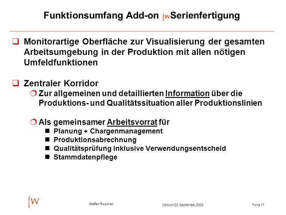 Folie 17Version 23. September 2003 jw Steffen Roschek Funktionsumfang Add-on jw Serienfertigung Monitorartige Oberfläche zur Visualisierung der gesamt