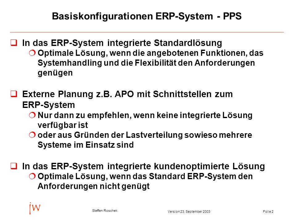 Folie 2Version 23. September 2003 jw Steffen Roschek Basiskonfigurationen ERP-System - PPS qIn das ERP-System integrierte Standardlösung Optimale Lösu