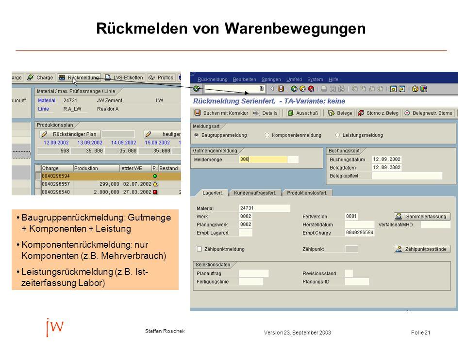 Folie 21Version 23. September 2003 jw Steffen Roschek Rückmelden von Warenbewegungen Baugruppenrückmeldung: Gutmenge + Komponenten + Leistung Komponen