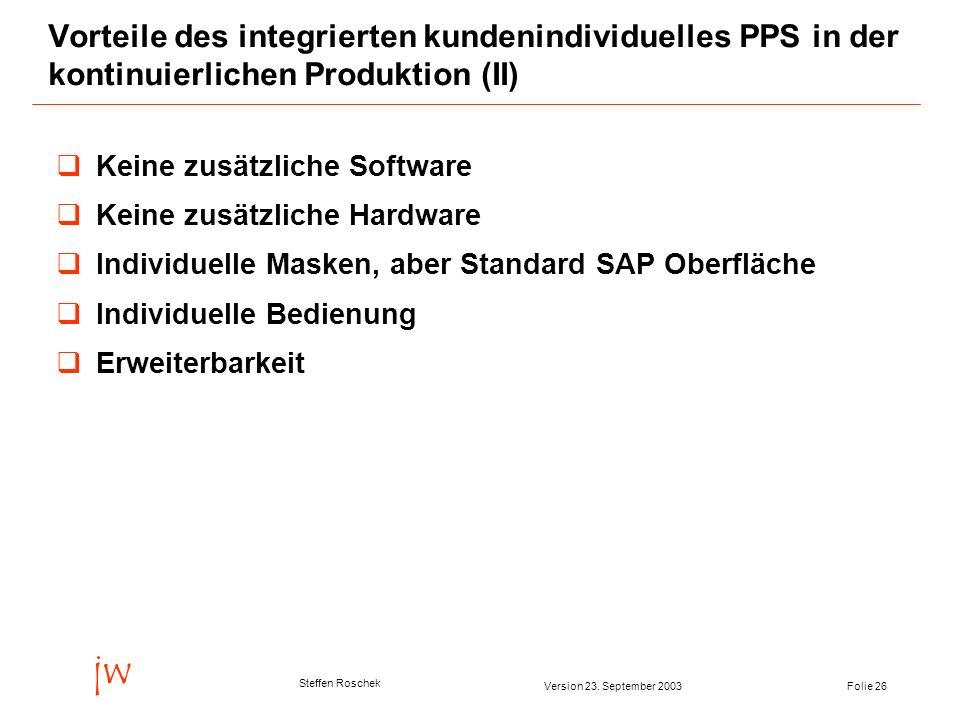 Folie 26Version 23. September 2003 jw Steffen Roschek Vorteile des integrierten kundenindividuelles PPS in der kontinuierlichen Produktion (II) Keine