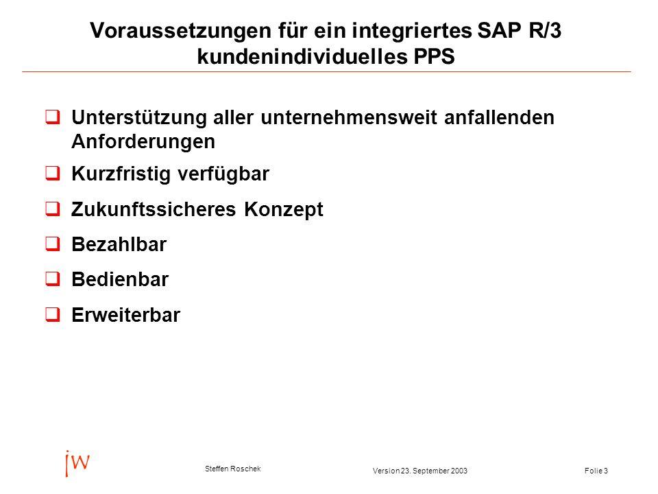 Folie 3Version 23. September 2003 jw Steffen Roschek Voraussetzungen für ein integriertes SAP R/3 kundenindividuelles PPS qUnterstützung aller unterne