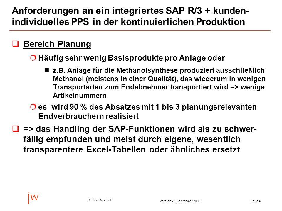 Folie 4Version 23. September 2003 jw Steffen Roschek Anforderungen an ein integriertes SAP R/3 + kunden- individuelles PPS in der kontinuierlichen Pro
