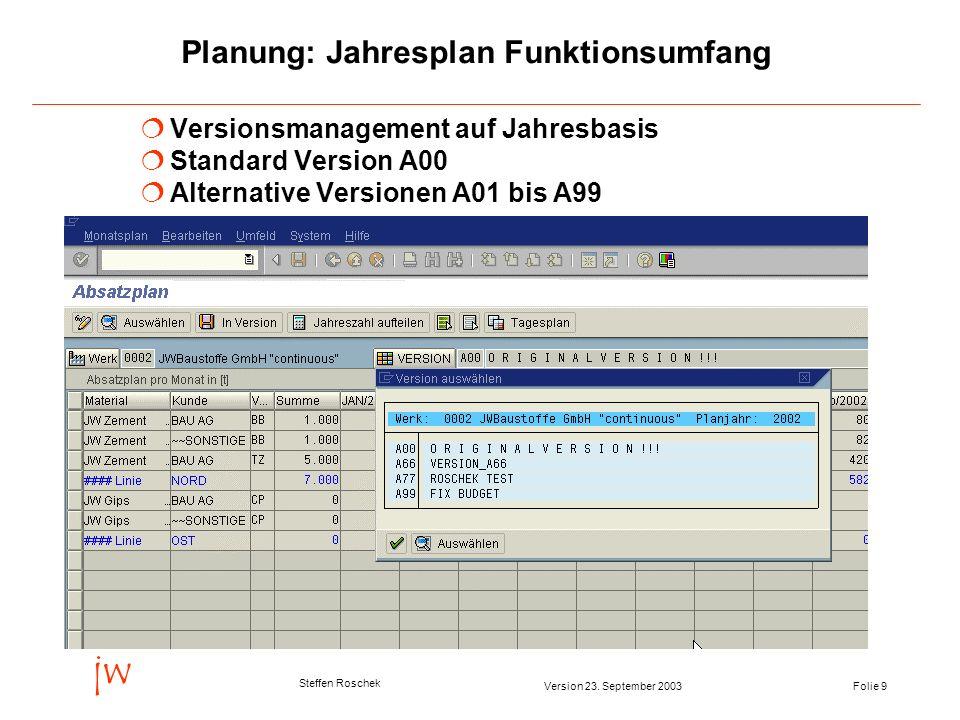 Folie 9Version 23. September 2003 jw Steffen Roschek Planung: Jahresplan Funktionsumfang Versionsmanagement auf Jahresbasis Standard Version A00 Alter