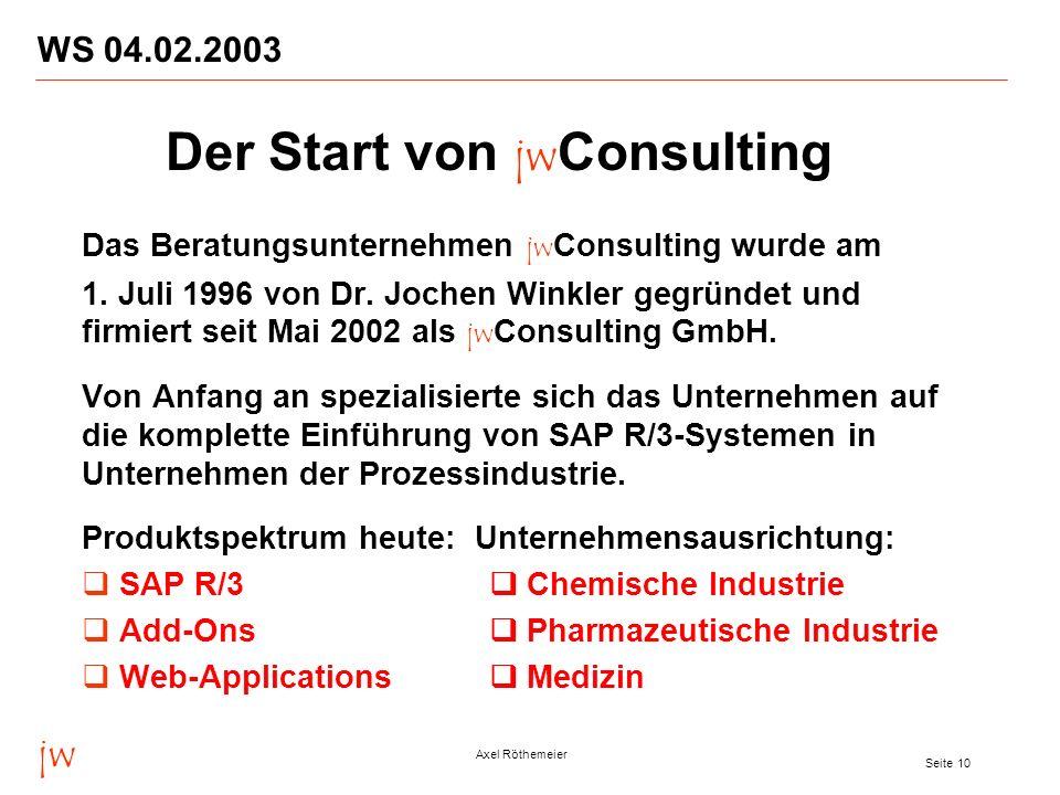 jw Axel Röthemeier Seite 10 WS 04.02.2003 Das Beratungsunternehmen jw Consulting wurde am 1. Juli 1996 von Dr. Jochen Winkler gegründet und firmiert s