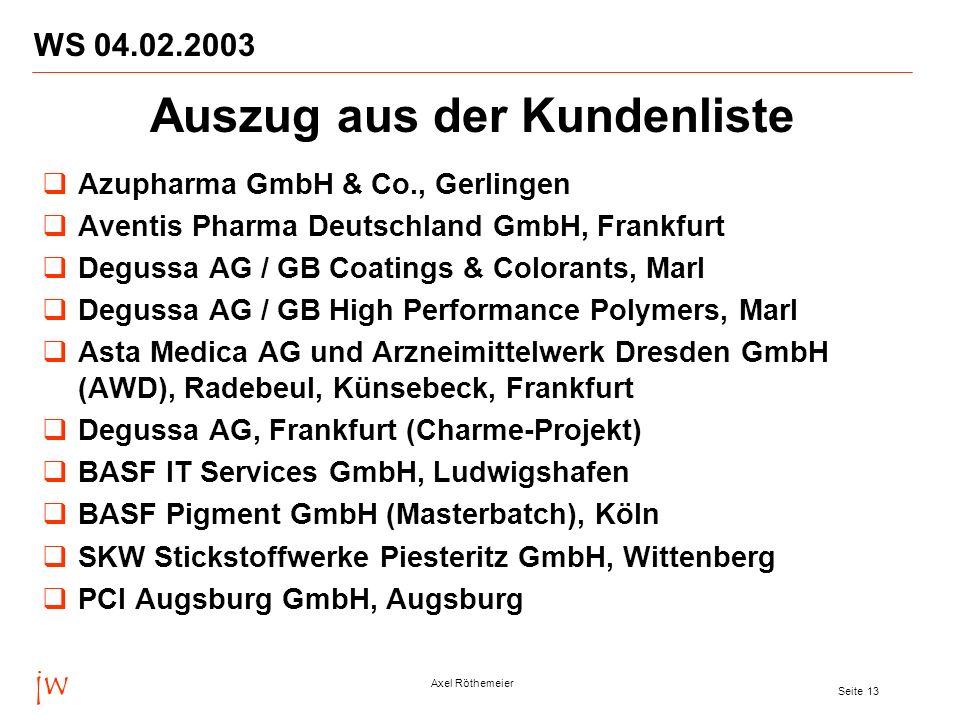 jw Axel Röthemeier Seite 13 WS 04.02.2003 Azupharma GmbH & Co., Gerlingen Aventis Pharma Deutschland GmbH, Frankfurt Degussa AG / GB Coatings & Colora