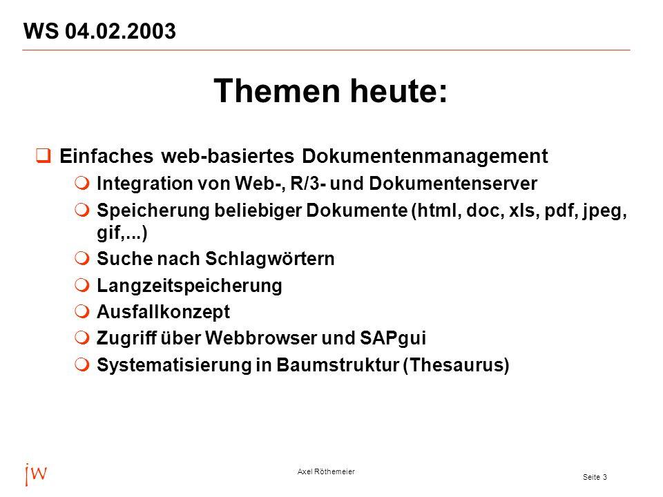 jw Axel Röthemeier Seite 3 WS 04.02.2003 Themen heute: Einfaches web-basiertes Dokumentenmanagement Integration von Web-, R/3- und Dokumentenserver Sp