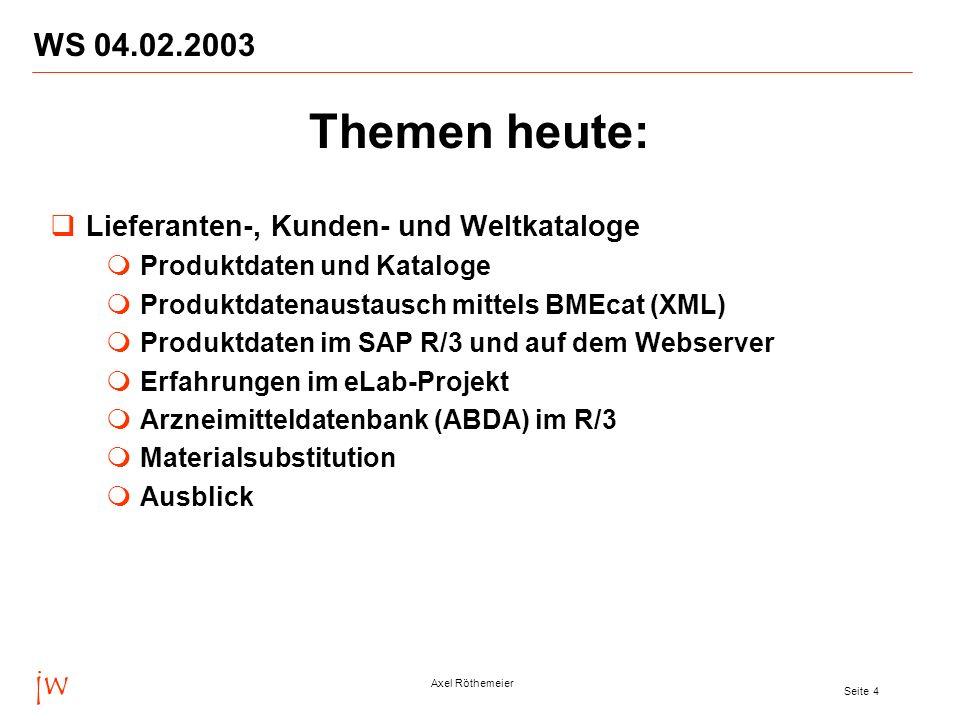jw Axel Röthemeier Seite 4 WS 04.02.2003 Themen heute: Lieferanten-, Kunden- und Weltkataloge Produktdaten und Kataloge Produktdatenaustausch mittels