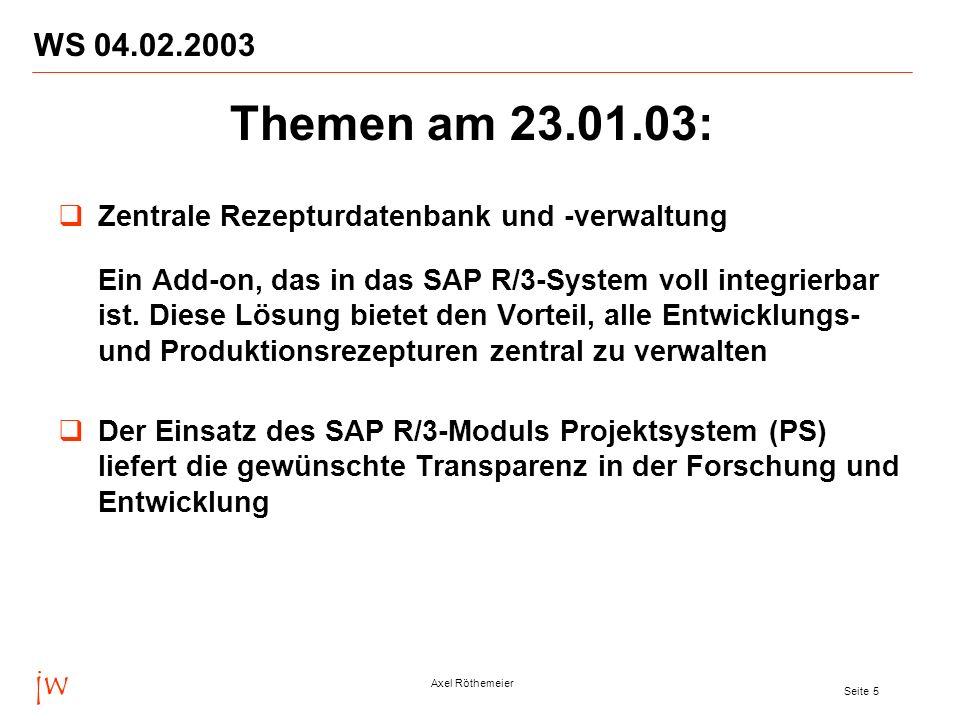 jw Axel Röthemeier Seite 6 WS 04.02.2003 Das neue jw LIMS mit innovativen Features im europaweiten Einsatz bei der Goldschmidt AG Voraussetzungen und Anforderungen für ein integriertes SAP- LIMS bezogen z.
