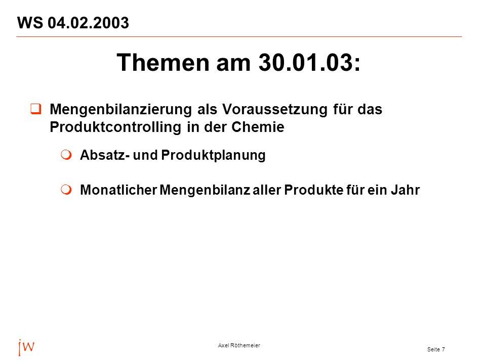 jw Axel Röthemeier Seite 7 WS 04.02.2003 Mengenbilanzierung als Voraussetzung für das Produktcontrolling in der Chemie Absatz- und Produktplanung Mona