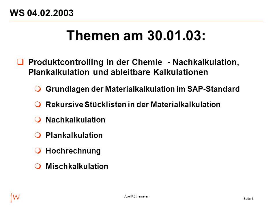 jw Axel Röthemeier Seite 9 WS 04.02.2003 Projekte und Add-on Entwicklungen von jw in 2002 und 2003 Projekte Entwicklungen Projektmanagement Themen am 30.01.03: Hinweis: Alle Vorträge sind im Internet abrufbar unter http://www.jwconsulting.de