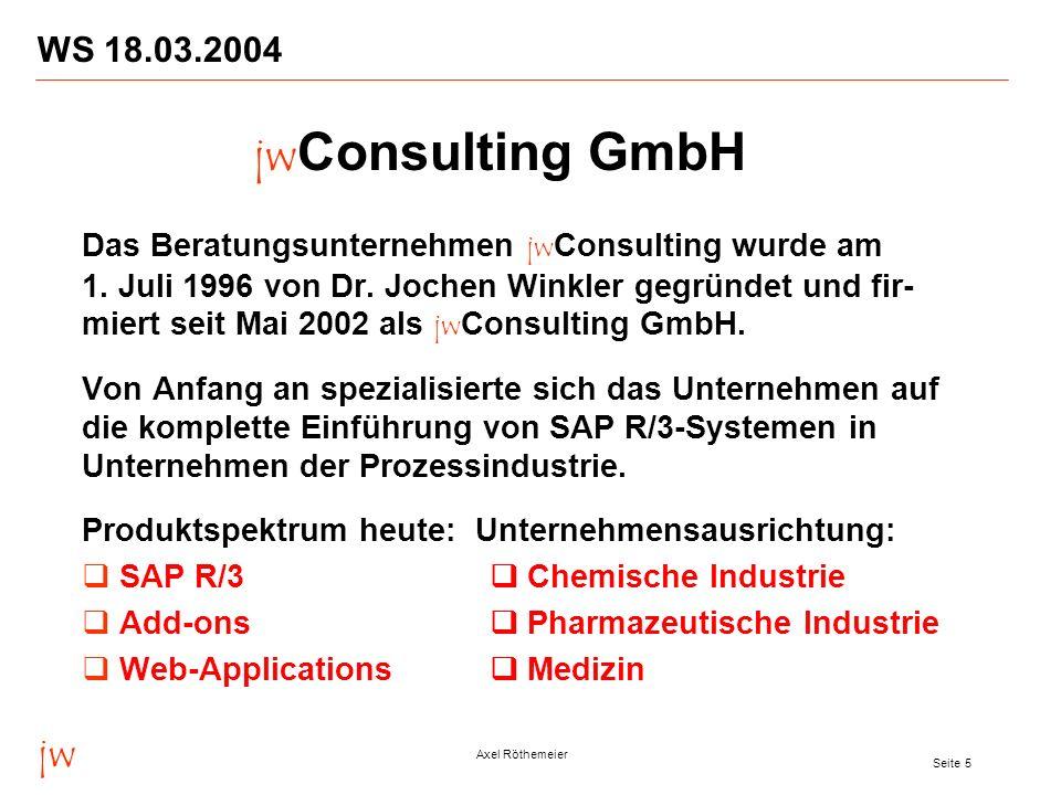 jw Axel Röthemeier Seite 5 WS 18.03.2004 Das Beratungsunternehmen jw Consulting wurde am 1. Juli 1996 von Dr. Jochen Winkler gegründet und fir- miert