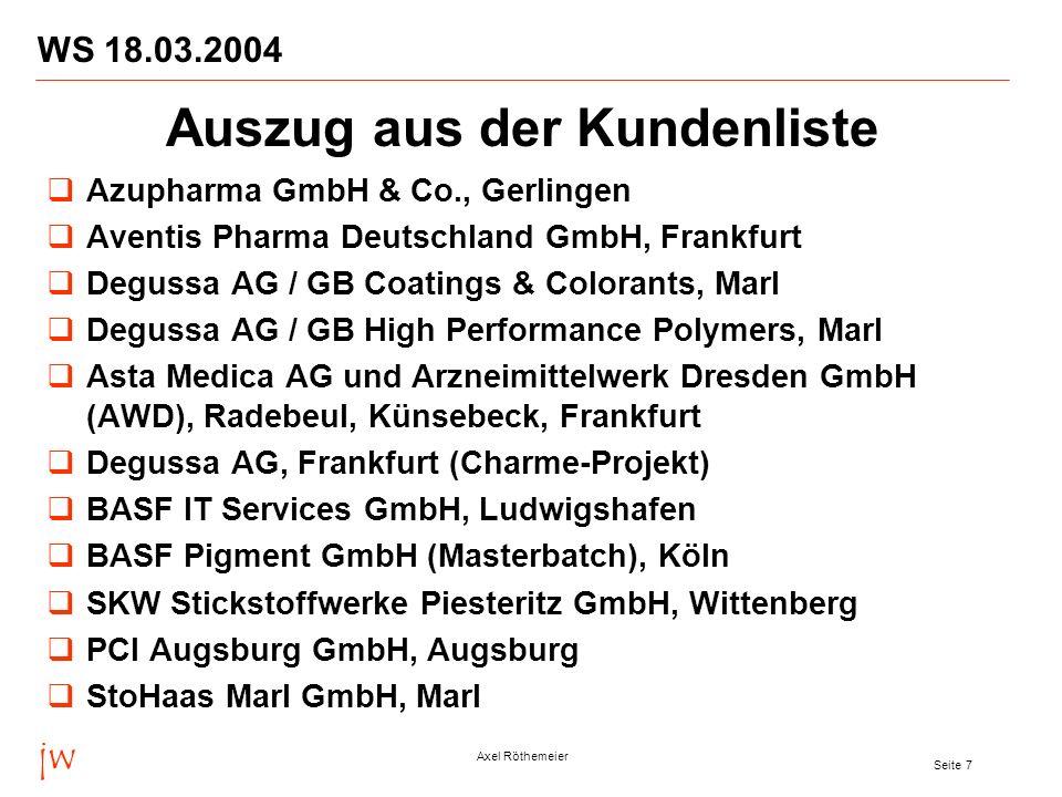 jw Axel Röthemeier Seite 7 WS 18.03.2004 Azupharma GmbH & Co., Gerlingen Aventis Pharma Deutschland GmbH, Frankfurt Degussa AG / GB Coatings & Coloran