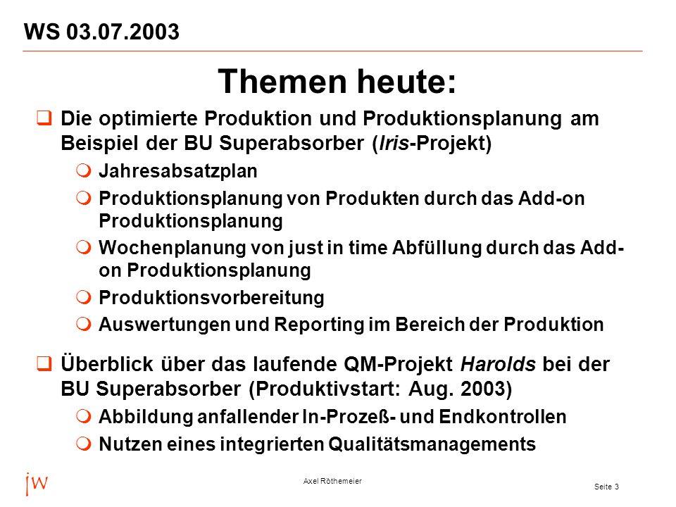 jw Axel Röthemeier Seite 3 WS 03.07.2003 Themen heute: Die optimierte Produktion und Produktionsplanung am Beispiel der BU Superabsorber (Iris-Projekt
