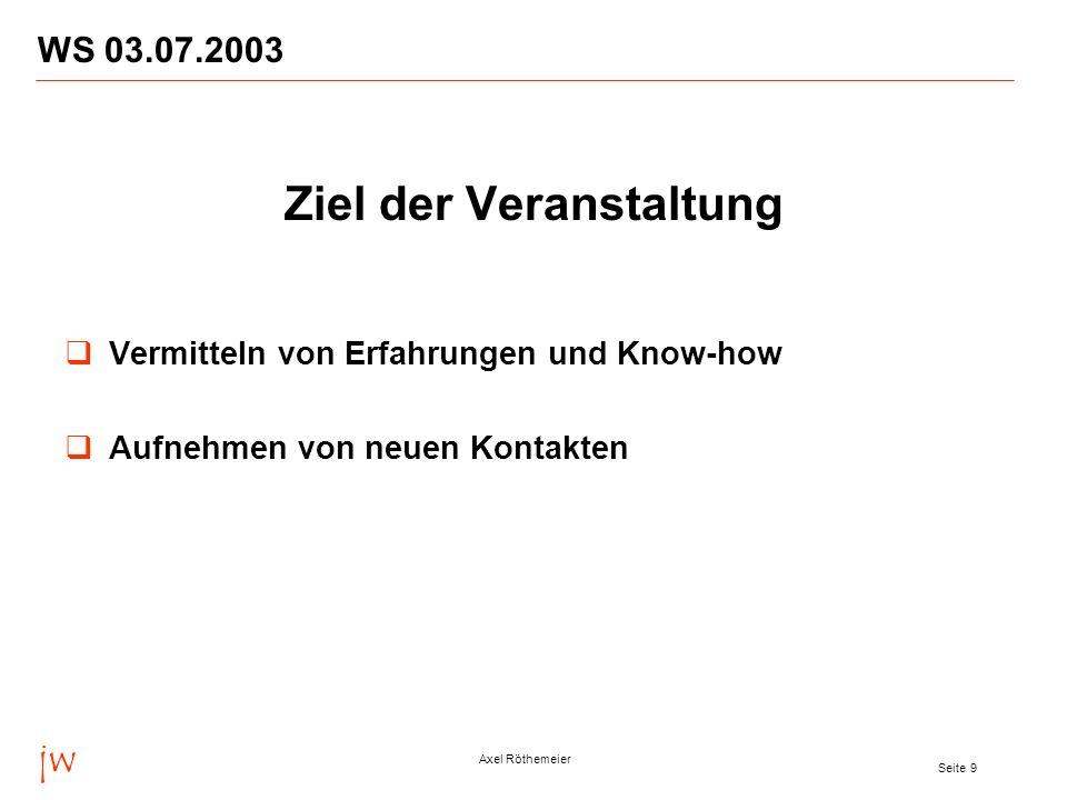 jw Axel Röthemeier Seite 9 WS 03.07.2003 Ziel der Veranstaltung Vermitteln von Erfahrungen und Know-how Aufnehmen von neuen Kontakten