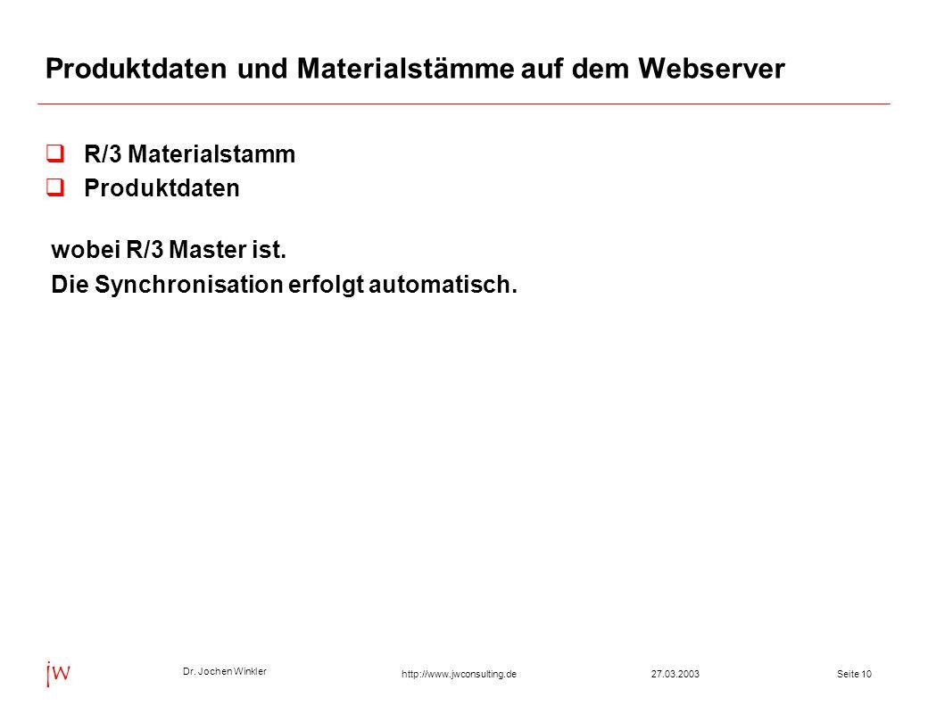 Dr. Jochen Winkler jw http://www.jwconsulting.deSeite 1027.03.2003 Produktdaten und Materialstämme auf dem Webserver R/3 Materialstamm Produktdaten wo