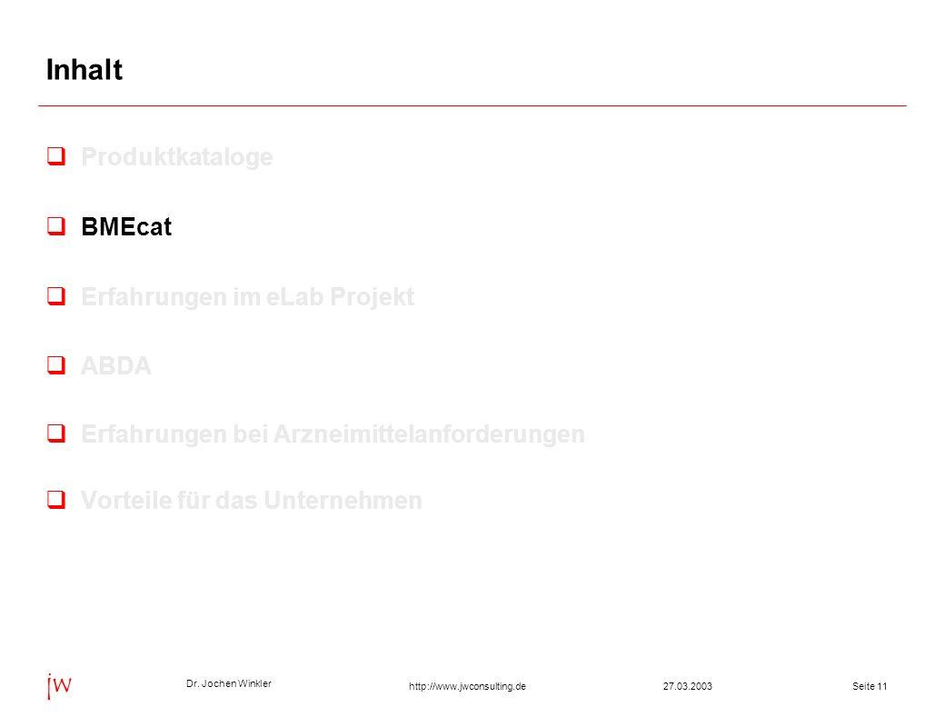 Dr. Jochen Winkler jw http://www.jwconsulting.deSeite 1127.03.2003 Inhalt Produktkataloge BMEcat Erfahrungen im eLab Projekt ABDA Erfahrungen bei Arzn