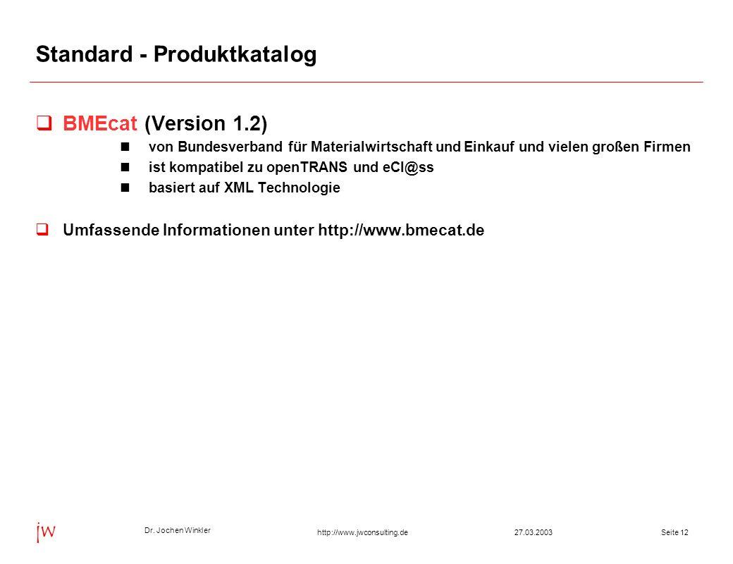 Dr. Jochen Winkler jw http://www.jwconsulting.deSeite 1227.03.2003 Standard - Produktkatalog BMEcat (Version 1.2) von Bundesverband für Materialwirtsc