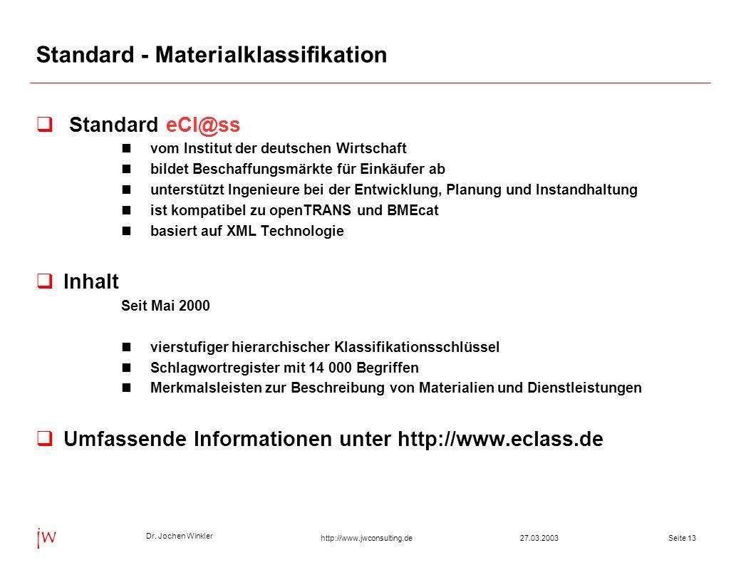 Dr. Jochen Winkler jw http://www.jwconsulting.deSeite 1327.03.2003 Standard - Materialklassifikation Standard eCl@ss vom Institut der deutschen Wirtsc