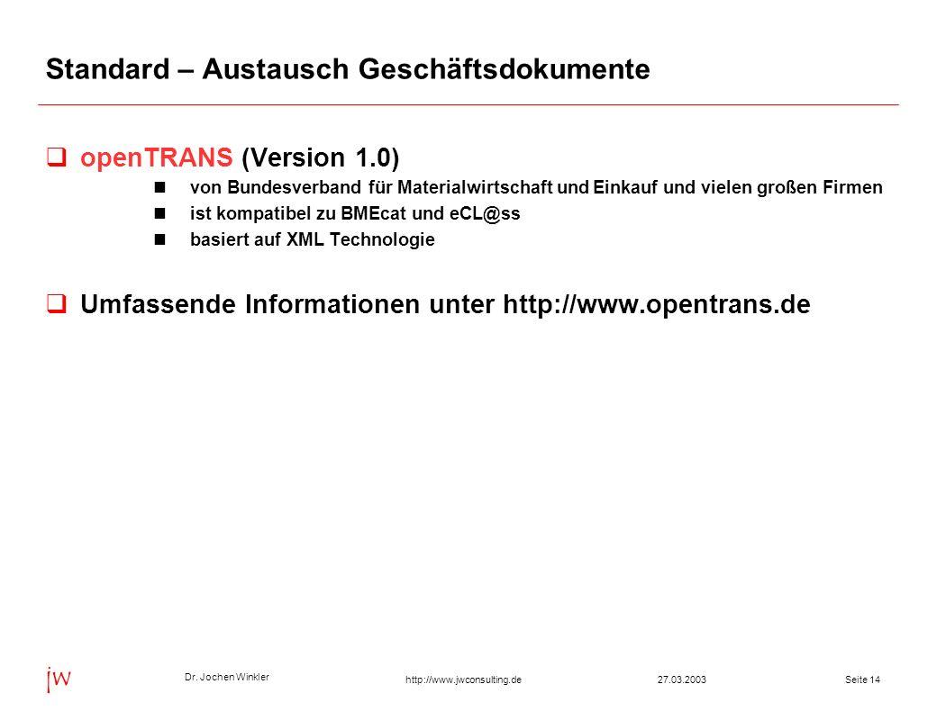 Dr. Jochen Winkler jw http://www.jwconsulting.deSeite 1427.03.2003 Standard – Austausch Geschäftsdokumente openTRANS (Version 1.0) von Bundesverband f