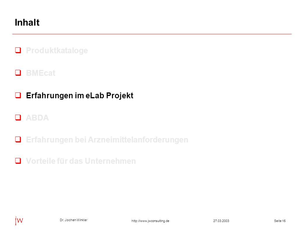 Dr. Jochen Winkler jw http://www.jwconsulting.deSeite 1527.03.2003 Inhalt Produktkataloge BMEcat Erfahrungen im eLab Projekt ABDA Erfahrungen bei Arzn