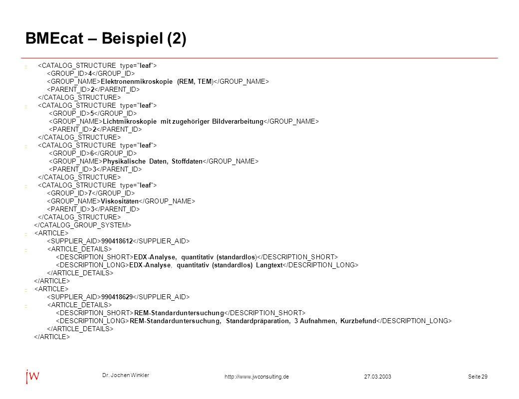 Dr. Jochen Winkler jw http://www.jwconsulting.deSeite 2927.03.2003 BMEcat – Beispiel (2) - 4 Elektronenmikroskopie (REM, TEM) 2 - 5 Lichtmikroskopie m