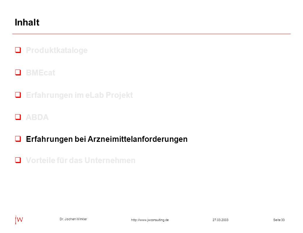 Dr. Jochen Winkler jw http://www.jwconsulting.deSeite 3327.03.2003 Inhalt Produktkataloge BMEcat Erfahrungen im eLab Projekt ABDA Erfahrungen bei Arzn