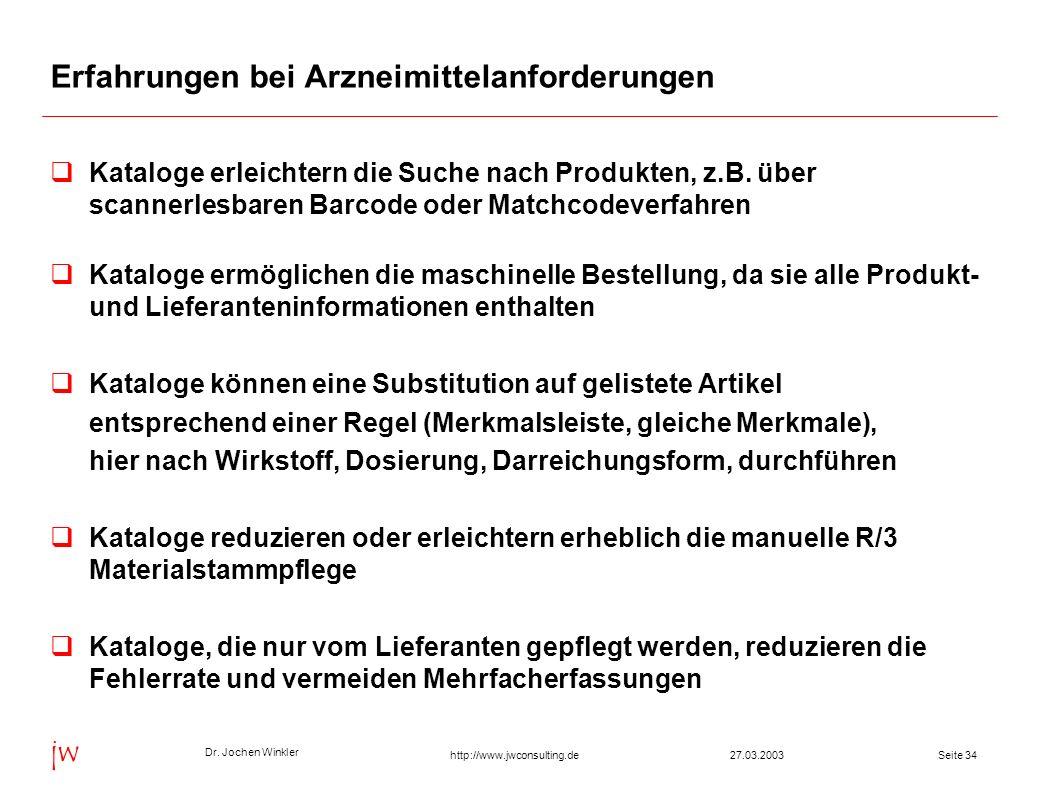 Dr. Jochen Winkler jw http://www.jwconsulting.deSeite 3427.03.2003 Erfahrungen bei Arzneimittelanforderungen Kataloge erleichtern die Suche nach Produ